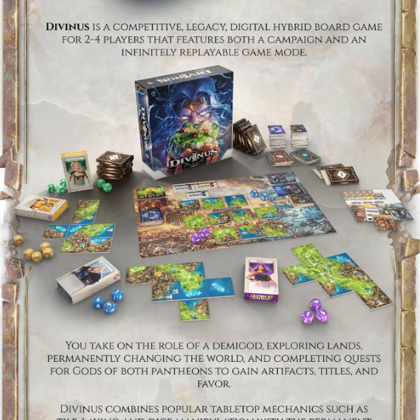 Divinus Board Game Gamefound Pantheon Pledge box and components.