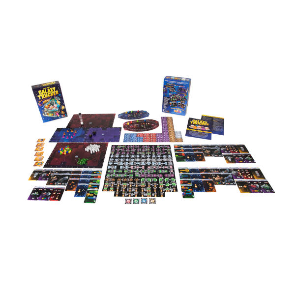 Galaxy Trucker Board Game box cover and components.