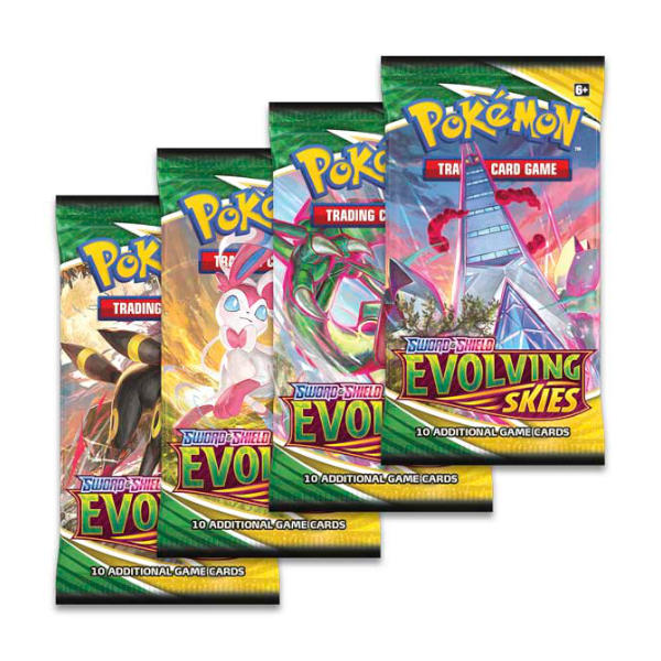 Pokemon TCG Evolving Skies Booster Box card pack covers.