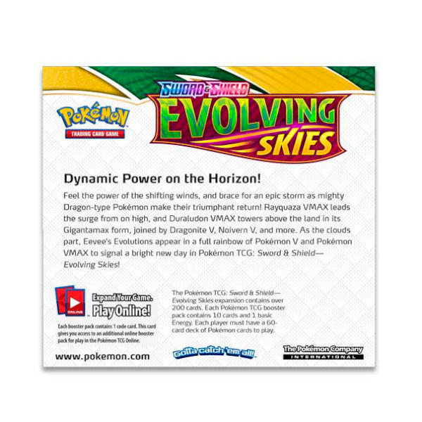 Pokemon TCG Evolving Skies Booster Box back.