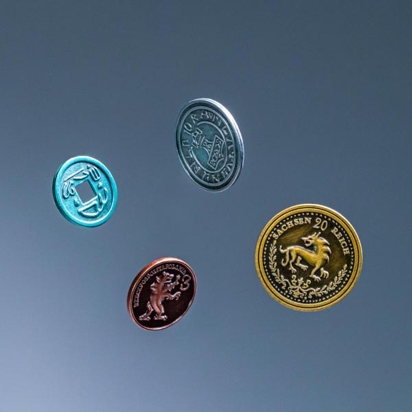 Scythe Metal Coins closeup.