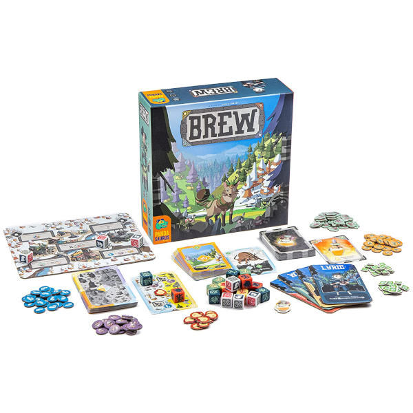 Brew Board Game front of box and components.