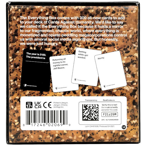Cards Against Humanity Everything Box back cover.