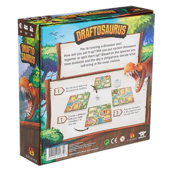 Draftosaurs Board Game box back.