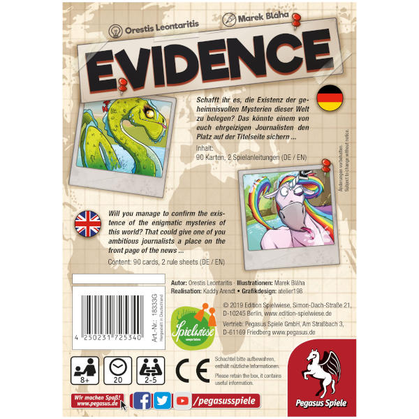 Evidence Board Game back of box.