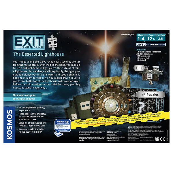 EXIT the Game Deserted Lighthouse Box back cover.