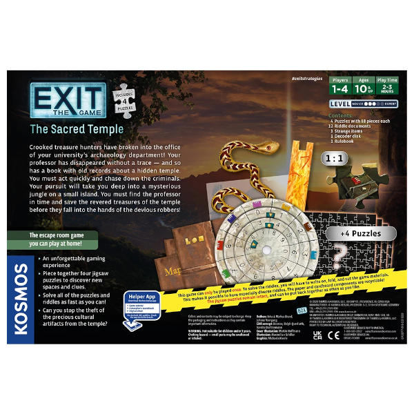 EXIT the Game the Sacred Temple Box Rear Cover.