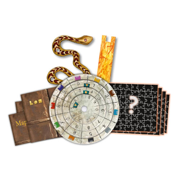 EXIT the Game the Sacred Temple components.