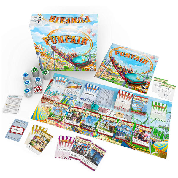 Funfair Board Game box front and components.