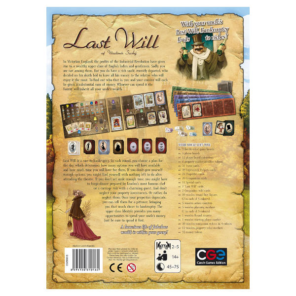 Last Will Board Game back cover.