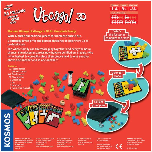 Ubongo 3D Board Game Box back.