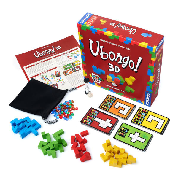 Ubongo 3D Board Game front cover and components.