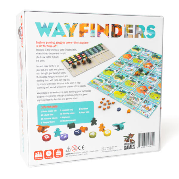 Wayfinders Board Game back of box cover.
