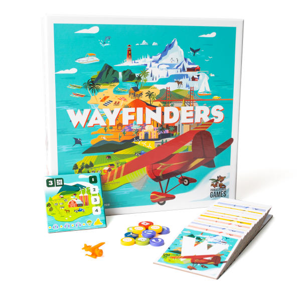 Wayfinders Board Game components and box cover.
