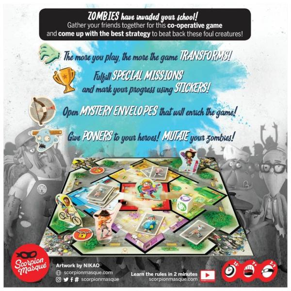 Zombie Kidz Evolution Board Game box back.