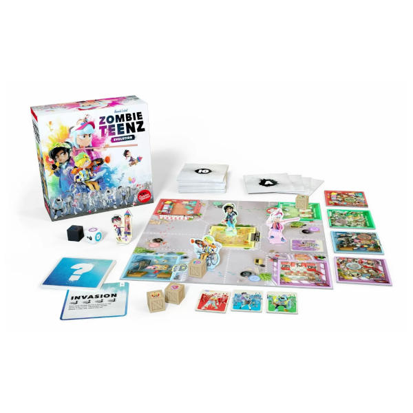 Zombie Teenz Evolution Board Game box cover and components.